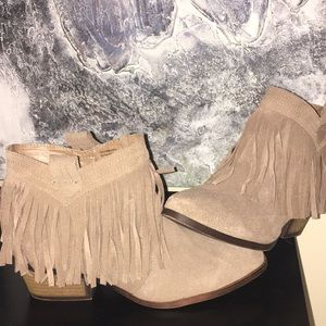 Restricted Ankle Fringe Booties
